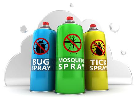 repellent: 3d illustration of three repellent bottles over white cloud background
