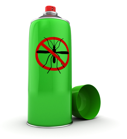 pest control equipment: 3d illustration of mosquito spray bottle, over white background Stock Photo