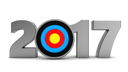 new arrow: 3d illustration of 2017 year sign and arrow, new year goals concept