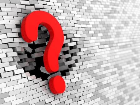 pared rota: 3d ilustración de símbolo de la pregunta que golpea la pared de ladrillo Foto de archivo