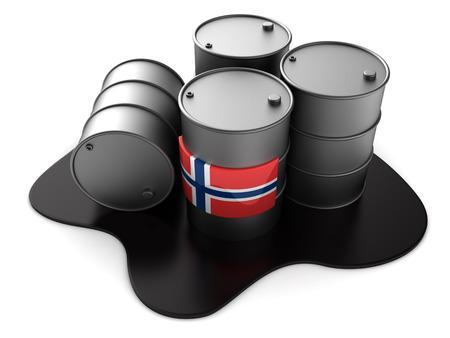 3d illustration of Norway oil barrels