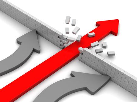 3d illustration of leading arrow breaking barrier