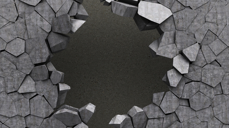 hole in the wall: 3d illustration of concrete wall hole Stock Photo
