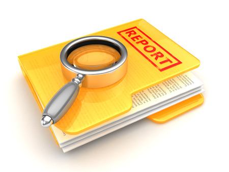 lupa: 3d illustration of folder and magnify glass, business report concept