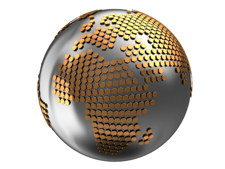 golden globe: 3d illustration of earth globe with golden hexagons