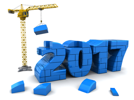 3d illustration of new year 2017 construction with crane Stock Photo