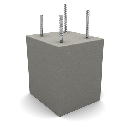 armored: 3d illustration of reinforced armored concrete block, over white background Stock Photo