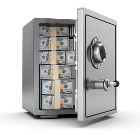deposit: 3d illustration of steel safe full of dollars Stock Photo
