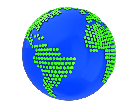 world  hexagon: 3d illustration of earth globe with hexagonal texture Stock Photo