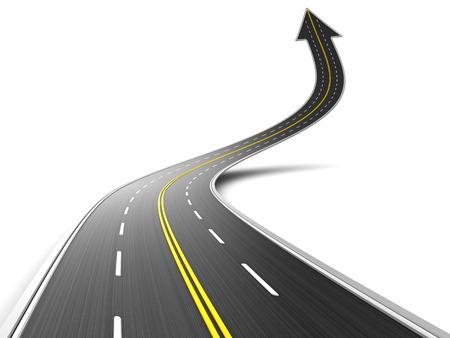 asphalt: 3d illustration of asphalt road with arrow symbol, upward direction Stock Photo