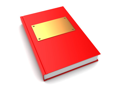 objects paper: 3d illustration of book with golden plate on cover