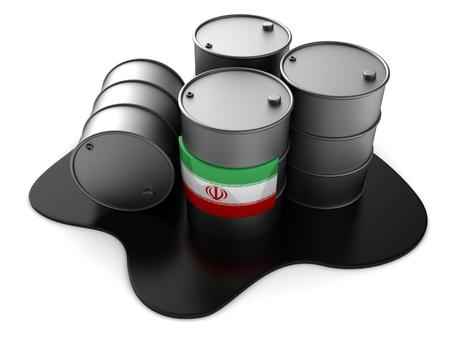 3d illustration of Iran oil barrels