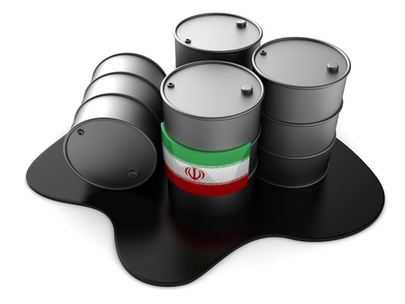 3d illustration of Iran oil barrels