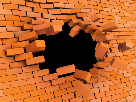 red brick: 3d illustration of brick wall crash over black background
