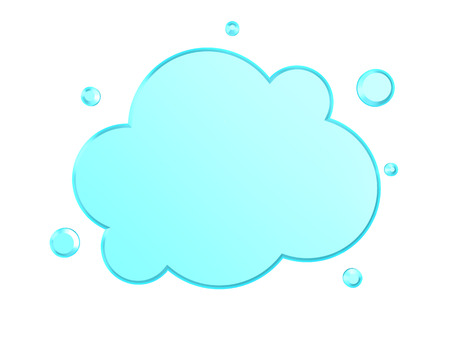 cloud shape: 3d illustration of glass cloud shape over white background Stock Photo