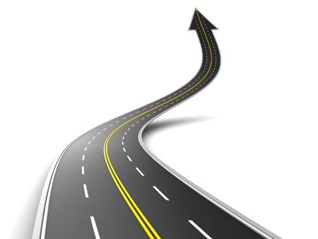 3d illustratie van de weg met pijl symbool opwaartse richting