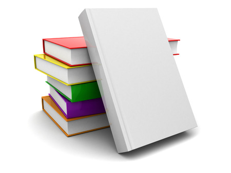 stacked books: 3d illustration of books stack over white background