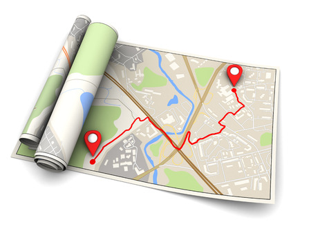 route map: 3d illustration of map with navigation route, over white background