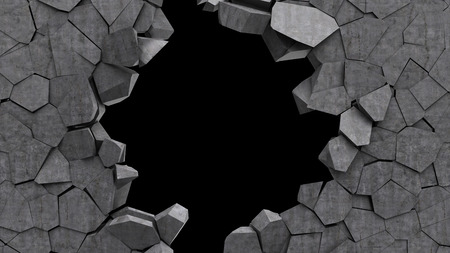 cracked wall: 3d illustration of concrete wall crashed over black background
