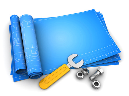 3d illustration of rolled blueprints template with empty space and wrench Stock Photo