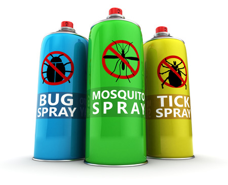 insecticide: 3d illustration of three different insecticide bottles