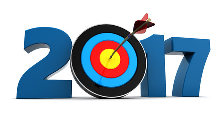 target: 3d illustration of 2017 year sign and arrow with target