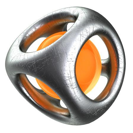 strange: abstract 3d illustration of strange metallic structure