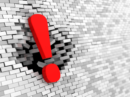 break: 3d illustration of exclamation mark hitting brick wall