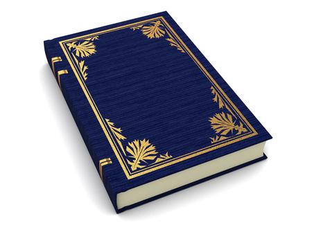 portadas libros: 3d ilustración de libro antiguo azul sobre fondo blanco
