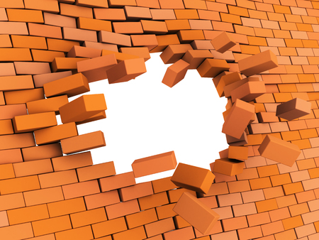 3d illustration of brick wall crash over black background