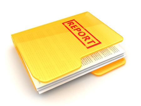 folder with documents: 3d illustration of folder with report documents