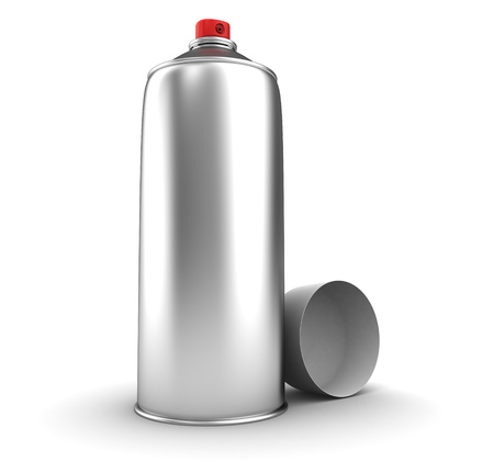 can: 3d illustration of chrome spray can, over whtie background Stock Photo