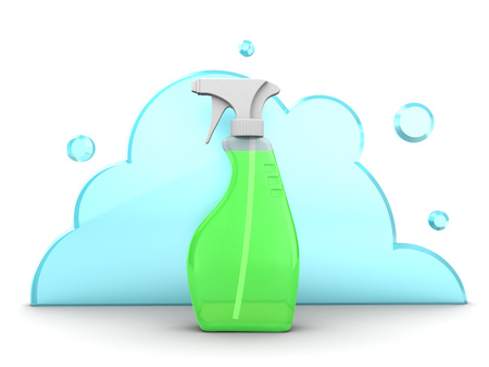 cleaning kitchen: 3d illustration of spray and cloud, cleaning concept