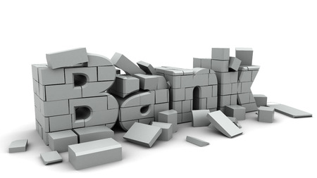 cracks: 3d illustration of bank collapse concept, over white background Stock Photo