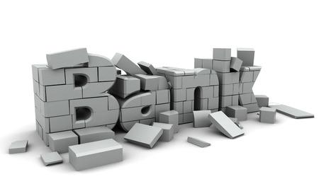 derrumbe: 3d ilustración de concepto colapso bancario, sobre fondo blanco