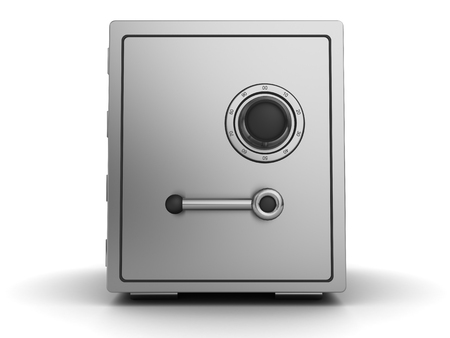storage box: 3d illustration of steel safe with combination lock Stock Photo