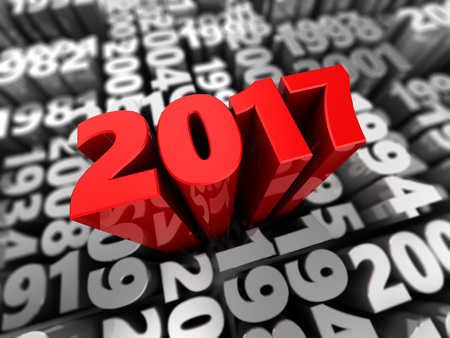 abstract 3d illustration of new 2017 year sign