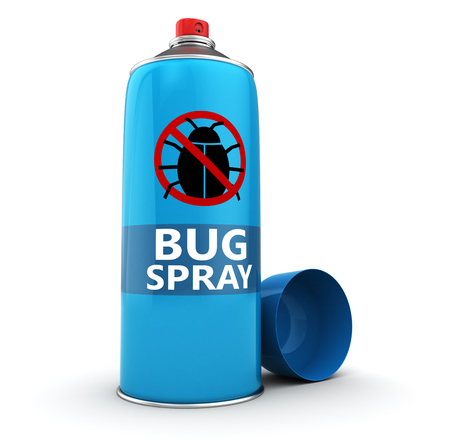 bugs: 3d illustration of  bug spray bottle over white background
