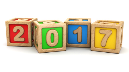 wooden toy: 3d illustration of 2017 year symbol with wooden toy cubes Stock Photo
