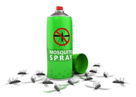insecticide: 3d illustration of insecticide spray and dead mosquitos, over white background