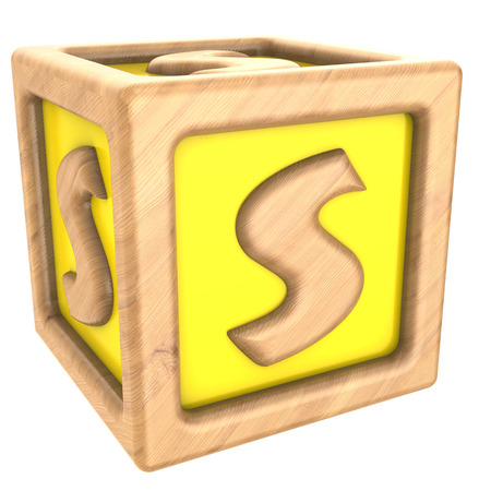 child s block: 3d illustration of toy cube with sign s on it