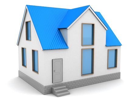 roof: 3d illustration of house with blue roof, over white background