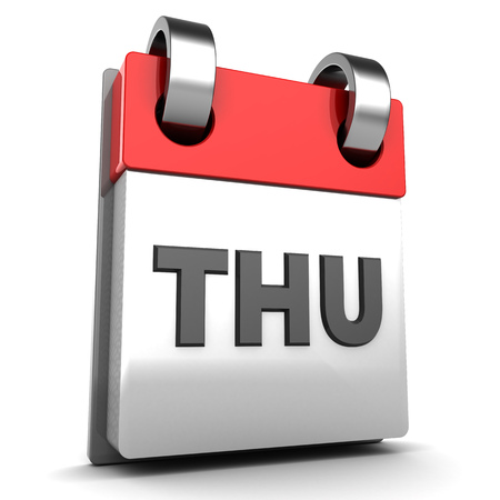 thursday: 3d illustration of thursday calendar page