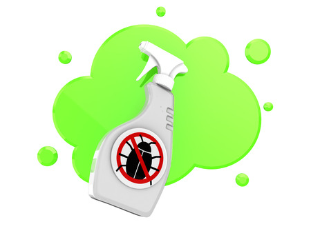 3d illustration of bug spray over green cloud shape Stock Photo