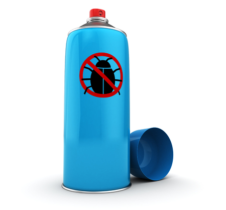 repellent: 3d illustration of bug spray, blue color Stock Photo