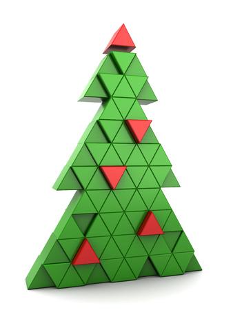 christmas tree illustration: 3d illustration of triangles stylized Christmas tree