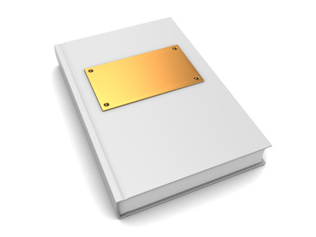 golden color: 3d illustration of white color book with golden plate on cover