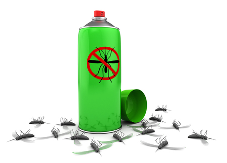 mosquitos: 3d illustration of mosquito spray and dead mosquitos, over white background