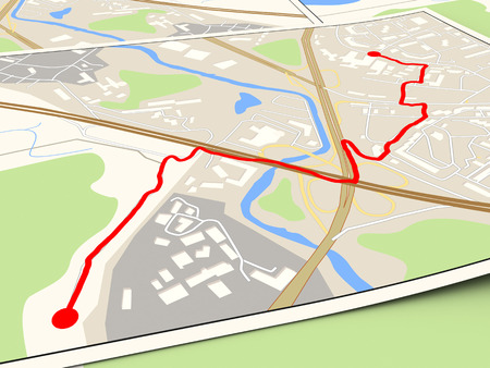 route map: 3d illustration of city map with red route Stock Photo