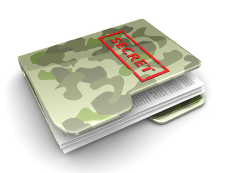 folder with documents: 3d illustration of army folder with secret documents Stock Photo